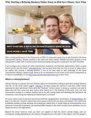 Why Starting a Refacing Business Makes Sense in 2016 Save Money, Save Time