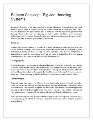 Boltless Shelving - Big Joe Handling Systems