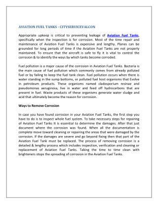 AVIATION FUEL TANKS - CITYSERVICEVALCON