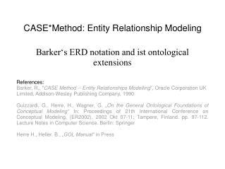 CASEMethod: Entity Relationship Modeling