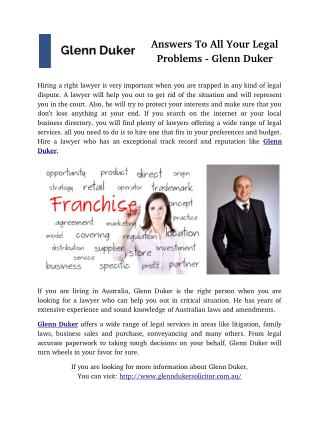 Answers To All Your Legal Problems - Glenn Duker