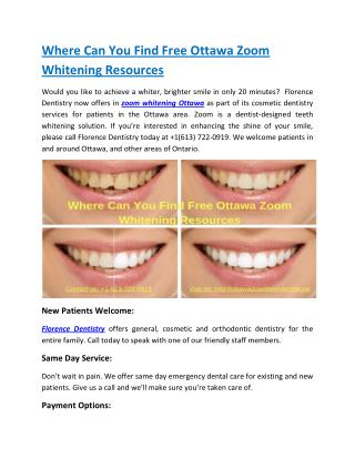 Where Can You Find Free Ottawa Zoom Whitening Resources