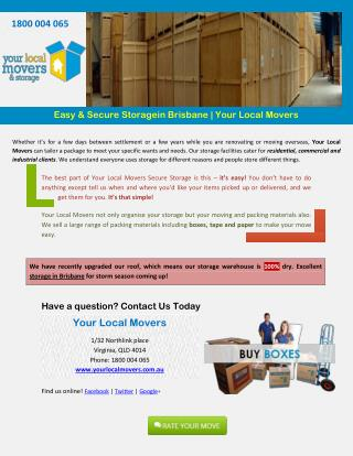 Easy & Secure Storagein Brisbane - Your Local Movers