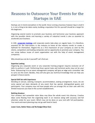 Reasons to Outsource Your Events for the Startups in UAE