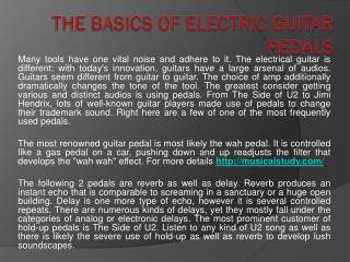 The Basics of Electric Guitar Pedals