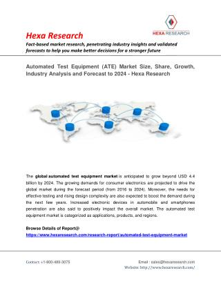 Automated Test Equipment (ATE) Market Size, Industry Report, 2024 | Hexa Research