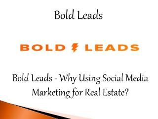 Bold Leads - Why Using Social Media Marketing for Real Estate?