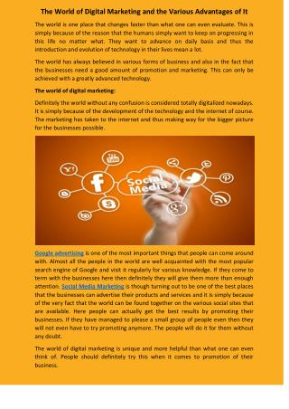 Digital Marketing and the Various Advantages of It
