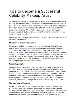 Tips to Become a Successful Celebrity Makeup Artist