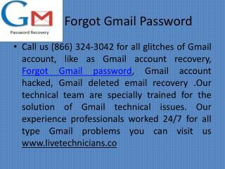 Forgot Gmail Password |  1(866)324-3042