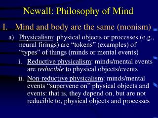 Newall: Philosophy of Mind