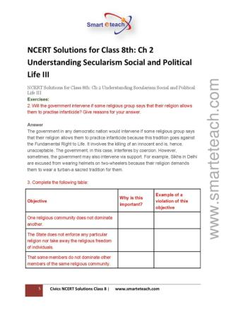 CBSE Class 8 Ncert Solution - Civics- Chapter-2