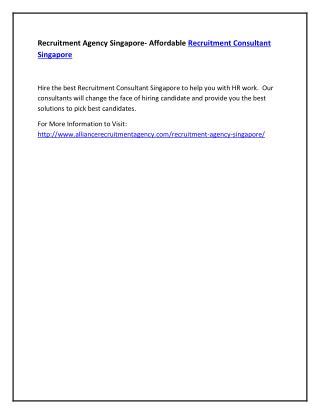 Recruitment Agency Singapore- Affordable Recruitment Consultant Singapore
