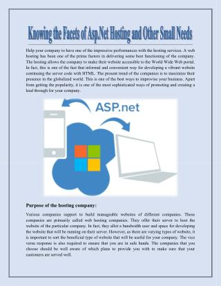 Knowing the Facets of Asp.Net Hosting and Other Small Needs