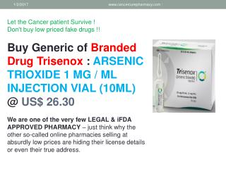 Buy ARSENIC TRIOXIDE 1 MG / ML INJECTION VIAL (10ML) @ US$ 26.30