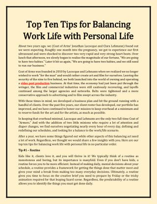Top Ten Tips for Balancing Work Life with Personal Life