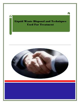 Liquid Waste Disposal and Techniques Used For Treatment