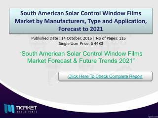 South American Solar Control Window Films Market with business strategies and analysis to 2021