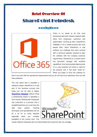 Brief Overview Of SharePoint Helpdesk