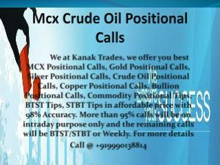 Crude Oil Positional Calls