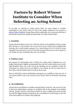 Factors by Robert Winsor Institute to Consider When Selecting an Acting School