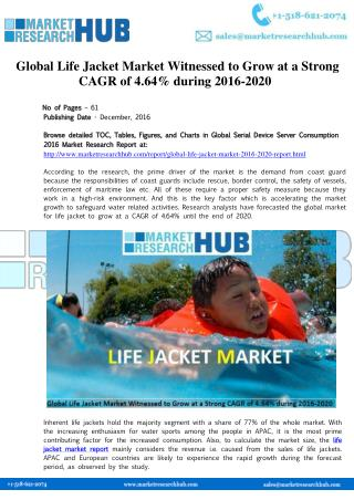 Global Life Jacket Market Research Report 2016-2020