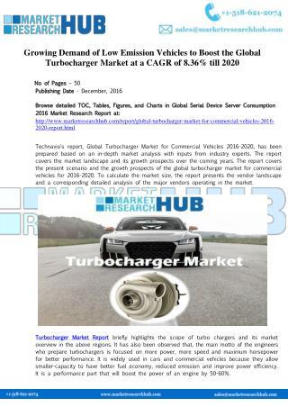 Global Turbocharger Market for Commercial Vehicles 2016-2020