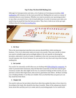 Tips To Buy The Best B2B Mailing Lists