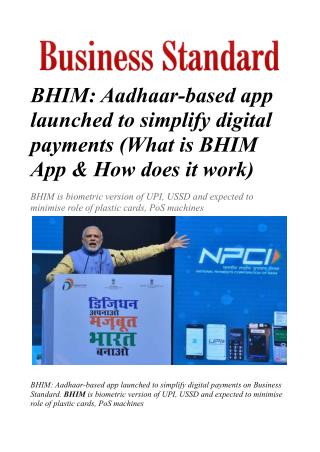 BHIM: Aadhaar-based app launched to simplify digital payments
