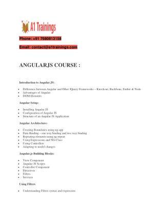 Angular js online training - course content