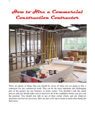 How to Hire a Commercial Construction Contractor