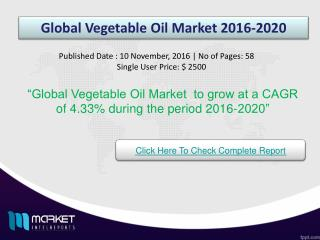 Future Market Trends of Global Vegetable Oil Market 2020