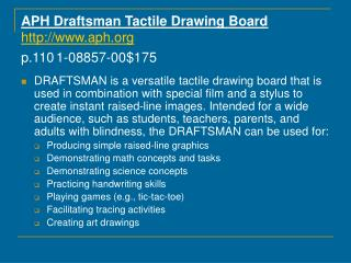 APH Draftsman Tactile Drawing Board  aph  p.110 1-08857-00 175
