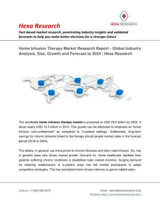 Home Infusion Therapy Market Size, Share | Industry Report, 2024 | Hexa Research