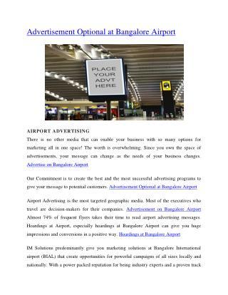 Advertisement Optional at Bangalore Airport