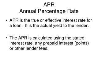 APR  Annual Percentage Rate