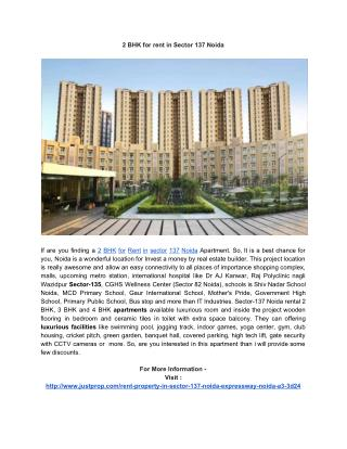 2 BHK for rent in Sector 137 Noida