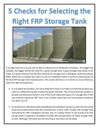5 Checks for Selecting the Right FRP Storage Tank