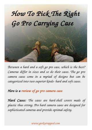 How To Pick The Right Go Pro Carrying Case