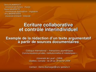 Ecriture collaborative et contr le interindividuel  Exemple de la r daction d un texte argumentatif   partir de sources