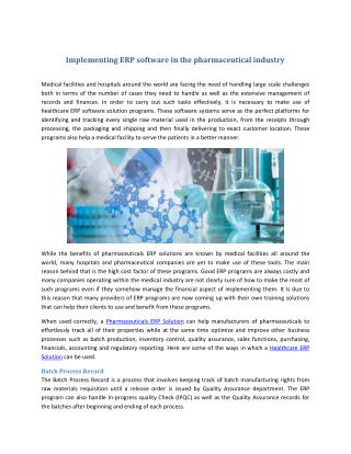 Implementing ERP software in the pharmaceutical industry