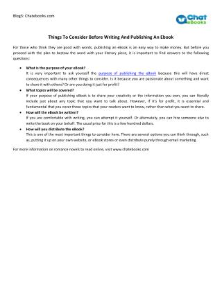Things To Consider Before Writing And Publishing An Ebook