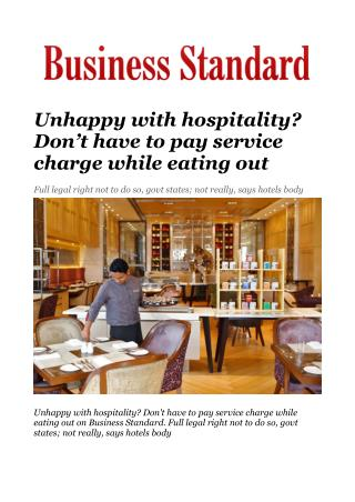 Unhappy with hospitality? Don't have to pay service charge while eating out