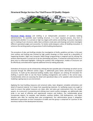 Structural Design Services For Vital Process Of Quality Outputs