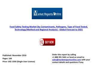 2021: Global Forecast on Food Safety Testing Market