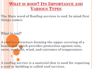 What Is Roof And Why Is This Importance