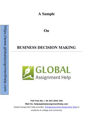 Sample on Business decision making By Global Assignment Help
