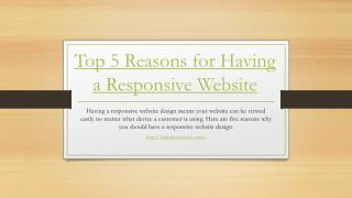 Top 5 Reasons for Having a Responsive Website
