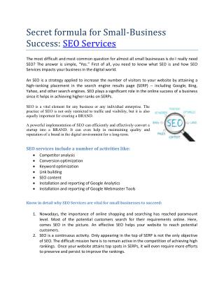Insights to Online marketing and SEO Services