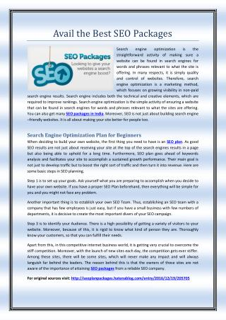 Avail the Best SEO Packages